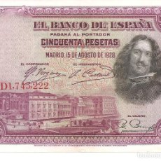 Billetes españoles: ESPAÑA 50 PESETAS 1928 VELAZQUEZ EBC. Lote 244844765