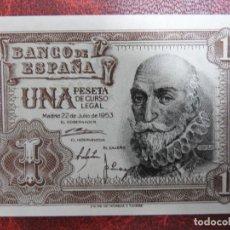 Billetes españoles: PLANCHA - SERIE J - BILLETE DE 1 PESETA DE 1953 - MARQUES SANTA CRUZ. Lote 244903155