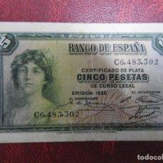 Billetes españoles: BC+ - SERIE C - BILLETE DE 5 PESETAS DE 1935 - CERTIFICADO DE PLATA. Lote 244903870