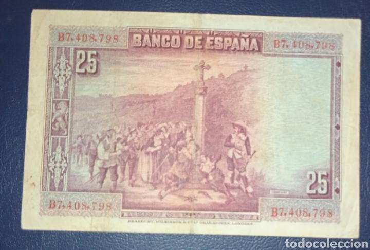 Billetes españoles: B-85.2 RARO Billete 25 pesetas 1928 con RESELLO SALUDOS A FRANCO- ARRIBA ESPAÑA. EL DE LA FOTO - Foto 2 - 245253805