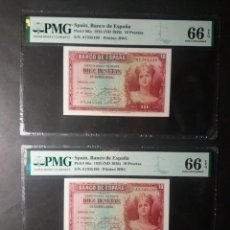 Billetes españoles: PMG BILLETE DE 10 PESETAS DE 1935 SERIE A PAREJA CORRELATIVA PMG 66/66 EPQ SIN CIRCULAR. Lote 245260390