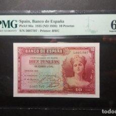 Billetes españoles: PMG BILLETE DE 10 PESETAS DE 1935 SIN SERIE PMG 67 EPQ SIN CIRCULAR. Lote 245263250