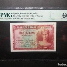 Billetes españoles: PMG BILLETE DE 10 PESETAS DE 1935 SIN SERIE PMG 66 EPQ SIN CIRCULAR. Lote 245264690