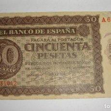 Billetes españoles: 50 PESETAS. BURGOS - 1936. SERIE A. Lote 245896395