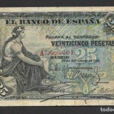Billetes españoles: 25 PESETAS 1906 SERIE A MBC. Lote 245903155