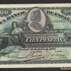 Billetes españoles: 100 PESETAS 1907 SIN SERIE SELLO SECO MBC+. Lote 245903810