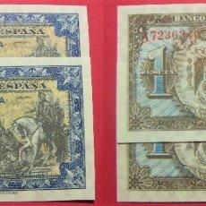 Banconote spagnole: 2 BILLETES DE 1 PESETA JUNIO 1940 PAREJA CORRELATIVA SIN CIRCULAR SERIE A. Lote 246168210