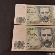 Billetes españoles: PAREJA CORRELATIVA 2 BILLETES 1000 PESETAS 1980 JUAN CARLOS I SIN CIRCULAR. Lote 246190340