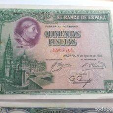 Billetes españoles: ALFONSO XIII- 500 PESETAS 1928 SIN SERIE EBC+. Lote 246280585