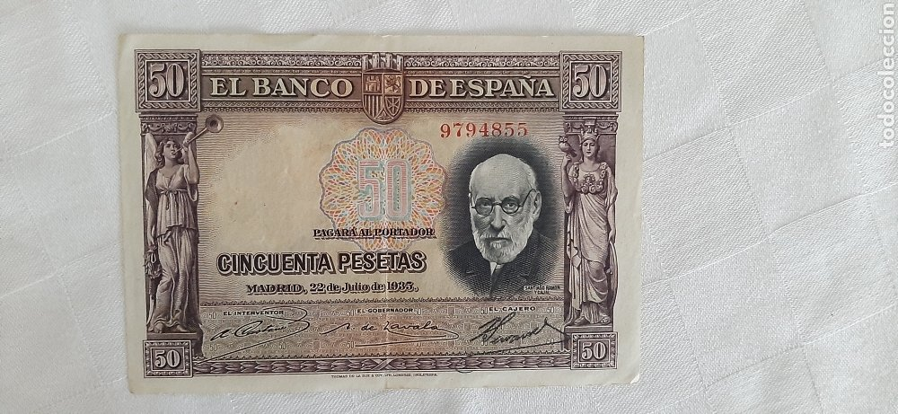 Billetes españoles: billete 50 pesetas 1935 - Foto 4 - 246490965