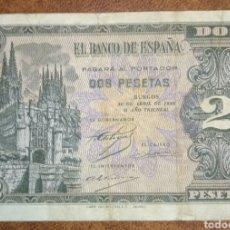 Billetes españoles: B-8 BILLETE MBC- BURGOS 2 PESETAS 30 ABRIL 1938 SERIE I. Lote 246491010