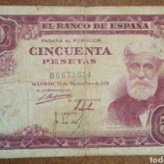 Billetes españoles: B-41.1 BILLETE MBC- 50 PESETAS 1951 SERIE B ... SANTIAGO RUSIÑOL. Lote 246494420
