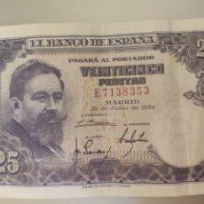Billetes españoles: ESPAÑA. BILLETE DE 25 PESETAS 1954. SERIE E.. Lote 246593570