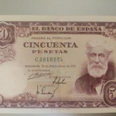 Billetes españoles: ESPAÑA. BILLETE DE 50 PESETAS 1951. SERIE C. BUENA CONSERVACIÓN.. Lote 246594105