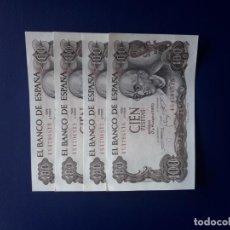 Billetes españoles: 100 PESETAS 1970. ESPAÑA. FRANCO. MANUEL DE FALLA. NUMERACIÓN CORRELATIVA. 4 BILLETES. S/C. Lote 246638605