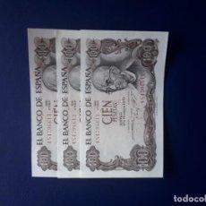 Billetes españoles: 100 PESETAS 1970. ESPAÑA. FRANCO. MANUEL DE FALLA. NUMERACIÓN CORRELATIVA. 3 BILLETES. S/C. Lote 246640340