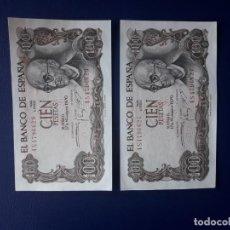 Billetes españoles: 100 PESETAS 1970. BILLETES ESPAÑA. FRANCO. MANUEL DE FALLA. 2 BILLETES. S/C. Lote 246642055