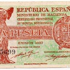 Billetes españoles: BILLETE DE 1 PESETA EMISIÓN, 1937 EBC. Lote 246741530