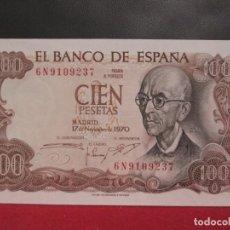 Billetes españoles: 100 PESETAS 17 DE NOVIEMBRE1970 SERIE 6N PLANCHA. Lote 246933560