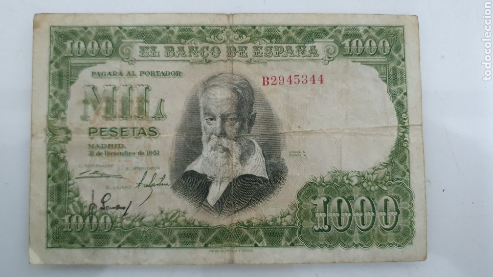 BILLETE DE 1000 PESETAS JOAQUÍN SOROLLA 1951. (Numismática - Notafilia - Billetes Españoles)
