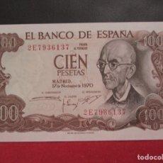 Billetes españoles: 100 PESETAS 17 NOVIEMBRE 1970 SERIE 2E PLANCHA. Lote 247155925