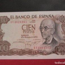 Billetes españoles: 100 PESETAS 17 NOVIEMBRE 1970 SERIE 4V PLANCHA. Lote 247300605