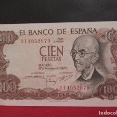 Billetes españoles: 100 PESETAS 17 DE NOVIEMBRE1970 SERIE 2I PLANCHA. Lote 247301010