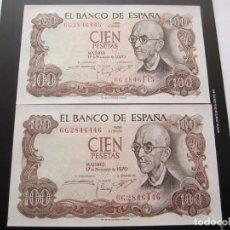 Billetes españoles: 100 PESETAS DE 1970 SERIE 6G-445/446 PAREJA CORRELATIVA SC. Lote 247443885