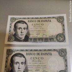 Billetes españoles: ESPAÑA. BILLETES DE 5 PESETAS 1951. PAREJA CORRELATIVA. SERIE D. SIN CIRCULAR.. Lote 247803665