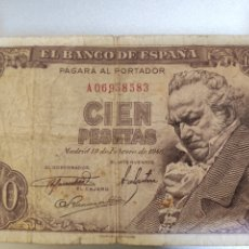 Billetes españoles: ESPAÑA. BILLETE DE 100 PESETAS 1946. SERIE A.. Lote 247805150