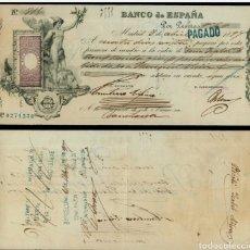 Notas espanholas: CHEQUE LETRA DE CAMBIO. BANCO DE ESPAÑA 36 PESETAS AÑO 1897. Lote 248151445