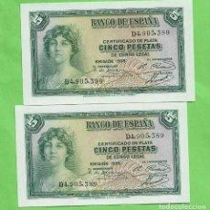 Billetes españoles: 2 BILLETES DE 5 PESETAS II REPÚBLICA. CORRELATIVOS PLANCHA. Lote 248626680