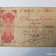 Billetes españoles: BILLETE DE 5 PESETAS,.1936.CIRCULADO EN EL PERIODO DE LA GUERRA CIVIL N 264061 SIN SERIE ,. Lote 248994155