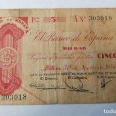 Billetes españoles: BILLETE DE 5 PESETAS,.1936.CIRCULADO EN EL PERIODO DE LA GUERRA CIVIL N 303018 SERIE A ,. Lote 248995810