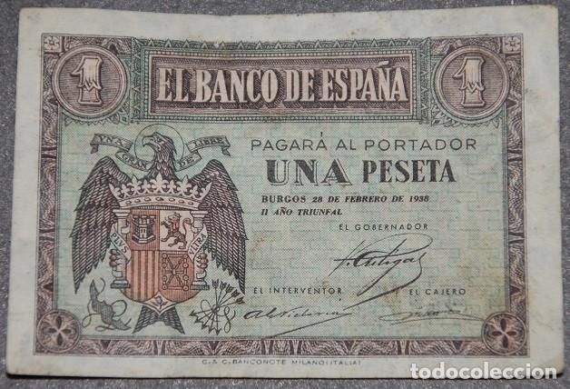 ESPAÑA BILLETE DE 1 PESETA 1938 SERIE F (Numismática - Notafilia - Billetes Españoles)