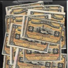Billetes españoles: CUBA 100 BILLETES 5 PESOS 1896 MBC/EBC. Lote 249168825