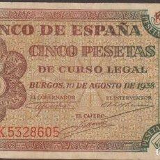Billetes españoles: BILLETES ESPAÑOLES-ESTADO ESPAÑOL 5 PESETAS 1938 (SERIE K) (MBC). Lote 251483030