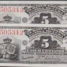 Billetes españoles: BILLETES ESPAÑOLES - ALFONSO XIII - ISLA DE CUBA - 5 CÉNTAVOS 1896 - SERIE J (SC) PAREJA CORRELATIVA. Lote 251488230