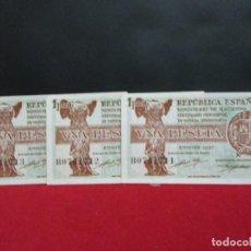 Billetes españoles: 3 BILLETES DE UNA PESETA CORRELATIVOS EMISION 1937 SC. Lote 251874500