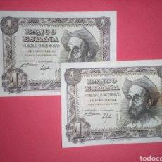 Billetes españoles: B-6 PAREJA CORRELATIVA 1 PESETA 1951. SE MANDA LO DE LA FOTO. Lote 251919130