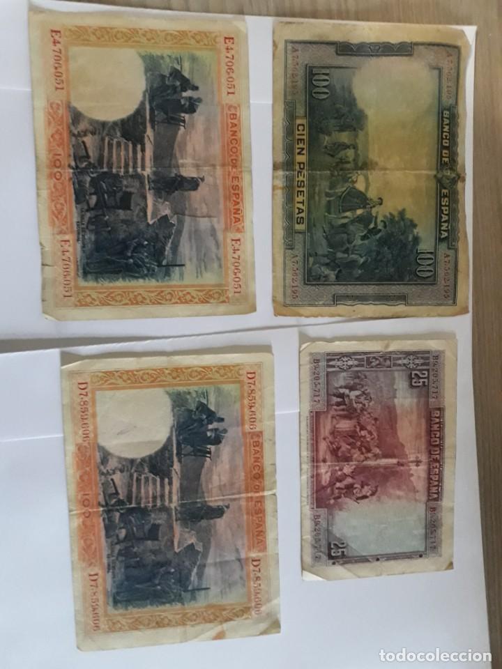 Billetes españoles: 2 billetes de 100 pesetas de 1925, otro de 1928 y uno de 25 pesetas de 1928 - Foto 2 - 252096120