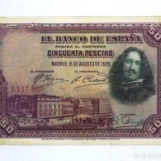 Billets espagnols: 50 PESETAS 1928 SIN SERIE,CON APRESTO,ESCASO. Lote 252172150