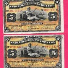 Billets espagnols: 5 PESOS CUBA 1896 PAREJA CORRELATIVA SIN CIRCULAR,CON SU APRESTO ORIGINAL,MUY RARA Y ESCASA. Lote 252179150