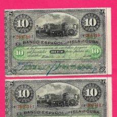 Billets espagnols: 10 PESOS CUBA 1896 PAREJA CORRELATIVA SIN CIRCULAR,CON SU APRESTO ORIGINAL,MUY RARA Y ESCASA. Lote 252179175