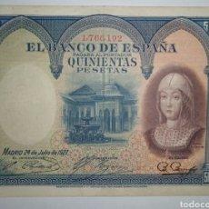 Billetes españoles: B-53 BILLETE EBC- DE 500 PESETAS 1927 SIN SERIE . ISABEL LA CATÓLICA. SE MANDA EL DE LA FOTO. Lote 252502695