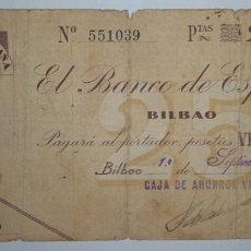 Billetes españoles: B-70 BILLETE PAGARÉ MBC- BILBAO 25 PESETA 1936. VER DESCRIPCIÓN. Lote 252505420