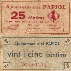 Billetes españoles: BILLETE LOCAL 25 CÉNTIMOS AYUNTAMIENTO DE EL PAPIOL 1937 CIRCULADO. Lote 252697665