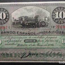 Billetes españoles: CUBA 10 PESOS CON PLATA 1896 SC SIN CIRCULAR. Lote 253354705