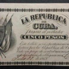 Billetes españoles: REPÚBLICA DE CUBA 5 PESOS 1869 SERIE B CON FIRMA Y FECHA SC-. Lote 253354955