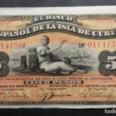 Billetes españoles: CUBA 5 PESOS 1896 RARO SIN PLATA EBC-. Lote 253356050